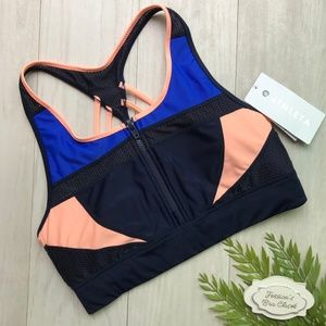 ATHLETA Tri-ssential Zip Bikini Swim Top NWT